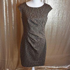 Calvin Klein Brown pleated dress size 8 modest